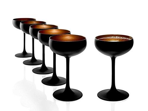 STÖLZLE LAUSITZ service de 6 coupes à Champagne noir (mat) bronze Elements I Coupes à cocktail en verre de cristal de haute qualité 230ml I Coupes passent au lave-vaisselle I résiste à la casse