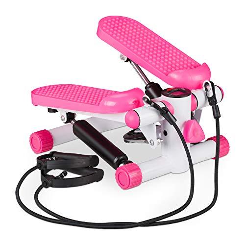 Relaxdays Stepper, Mini Step con 2 Corde Elastiche & Conta Passi, Attrezzi Fitness Training Casa, Gambe & Braccia, Rosa Unisex Adulto, Set da 1 pz