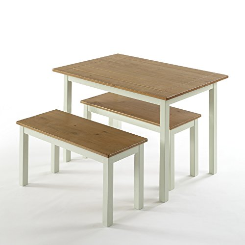 Zinus Farmhouse Dining Table Two Benches / 3 Piece Set