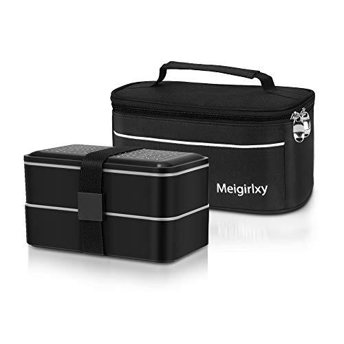 Meigirlxy Lunch Tasche Isoliertasche mit Lunch-Box Bento Box, 2 Fächer Bentobox Auslaufsicher, Spülmaschinenfest Mikrowellenfest mit Besteckset, Schwarz