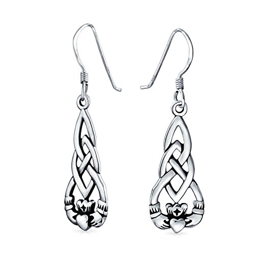 Claddagh Celtic Irish Friendship Love Knot Work Fish Hook Dangle Earrings For Women Oxidized 925 Sterling Silver