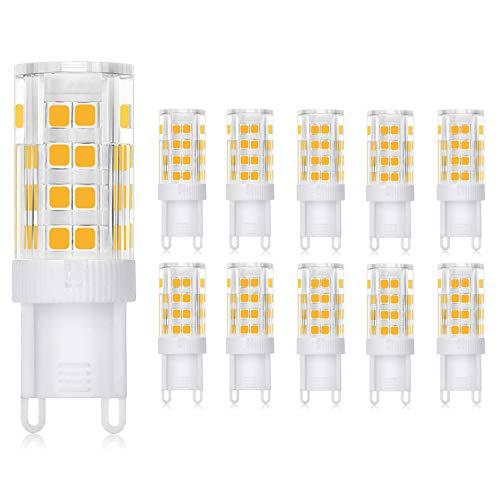 WEDNA Bombilla LED G9 3W, Equivalente 30W Lampara Halógena, 52 LEDs G9, 300 lúmenes, Blanco Cálido 3000K, CA 220-240V, No regulable, Sin parpadeo - 10 Unidades