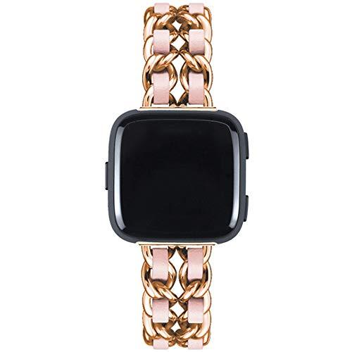 LUONE Deporte Correas de Reloj, Compatible con el Fitbit Versa1 / 2 del Reloj del Metal del Acero Inoxidable Correa de reemplazo Banda de Cuero Correa de Reloj de Cadena del Vaquero,K,Long