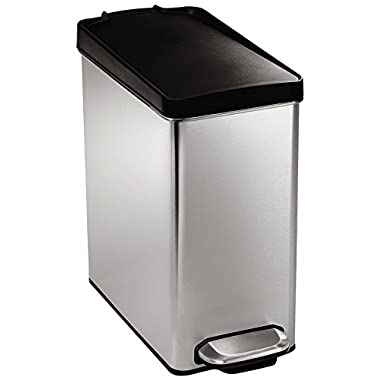 simplehuman 10 litre profile step trash can, brushed stainless steel with plastic lid