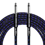 AUGIOTH Guitar Cable 10 ft, Premium Electric Instrument Bass Cable AMP Cord 1/4 Straight to Straight Blue Tweed