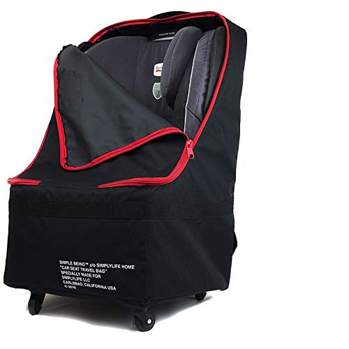 Simple Being Baby Car Seat Travel Bag, Gate Check, Infant Carriers Booster Cover Protector for Air Travel (Black with Wheels) Montana
