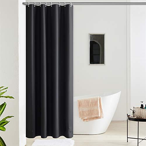 Furlinic Duschvorhang Anti-schimmel Wasserdicht Klein Badvorhang aus Eva 120x180cm Schwarz mit 8 Duschvorhangringen Saum mit Steinen.