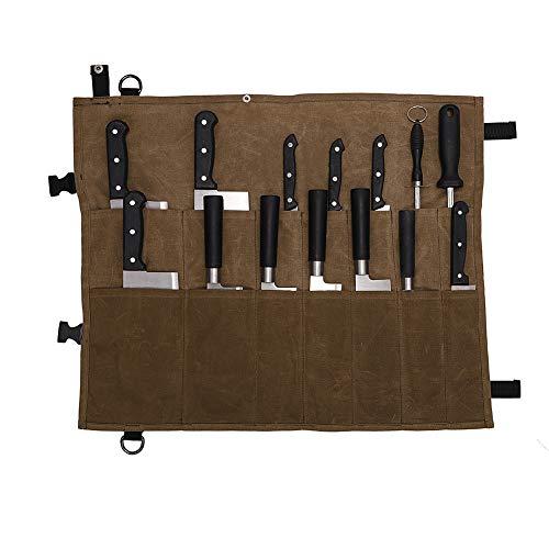 Wasserdichte Messerrolle,Rolltasche für Küchenmesser,gewachstes Leinen,Aufbewahrungstasche für Küchenmesser,mit 14 Taschen, perfekt für Reisen,Arbeit