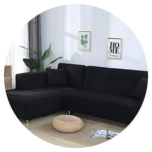 JIAN YA NA Housses de canapé Extensibles Housse de canapé d'angle Housse en Polyester Housses Extensibles pour canapé en L + 2pcs Couvre oreillers (Noir, 2 Place + 2 Place)