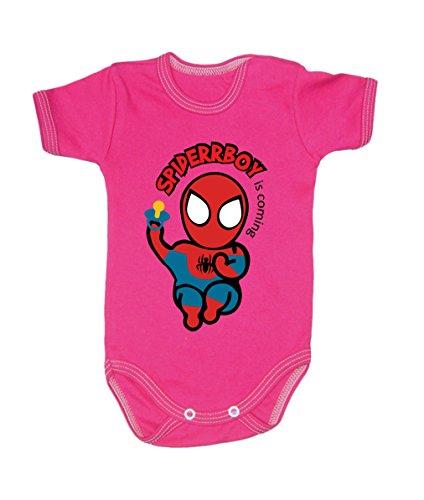 Couleur Mode bébé Spiderman bodies à manches courtes 100% coton Petit bébé – 24 mois – 0003 rose 0-3 months, 62 cm