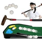 BILXXY Colchoneta de Golf, Equipo de Entrenamiento de práctica de Golf de 2 m con 5 Pelotas y Taco, Juego de Hierba Verde para niños para Interior, hogar y Exterior