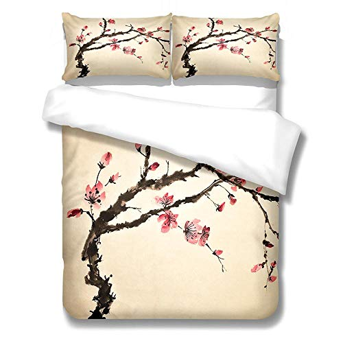 YLWMBB Duvet Cover Set Plum blossom 3D Printed Reversible Duvet Cover Set Wrinkle Free Quilt Cover Cover Bedding with 2 Pillowcases and Zipper Closure 140x200cm