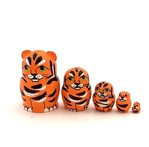 1.25' Tall Tiger Mini Nesting Dolls Russian Hand Carved Hand Painted 5 Piece Matryoshka Set