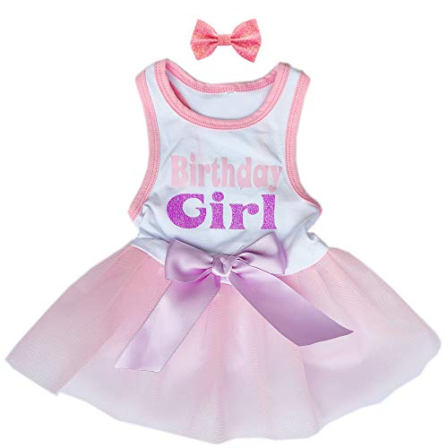Kirei Sui Pets Lavender Birthday Girl Tutu Dress Small Puppy Dogs Apparel Clothes Pink XS