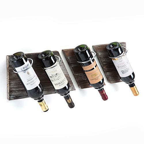J JACKCUBE DESIGN  Botellero de madera rústica y metal para colgar en la pared 4 botellas soporte de almacenamiento vintage para el hogar bar cocina sala de estar MK490A Madera rústica