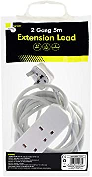 2 WAY-5M EXTENSION LEAD CABLE TRAVEL ADAPTORS EXTENSION SOCKET