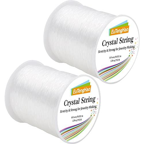 EuTengHao 0.8mm Crystal String Elastic String for Beads Bracelet,240m Elastic Cord Stretchy Bracelet String Bead Sting Cord for Jewelry Making Bracelet, Beading (240m/786ft, 0.8mm)