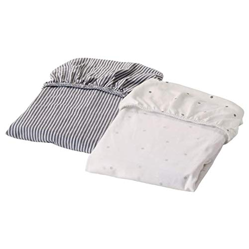 Ikea Solgul 703.687.40 - Sábana bajera ajustable para cuna, diseño de rayas, 40 x 80 cm