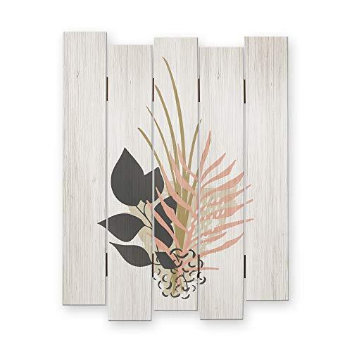 Kreative Feder Abstrakt Floral  Shabby Chic Landhausstil Wandbild Holz   Deko-Holzbild   Wanddeko für Ihr Zuhause   ca.60x44cm