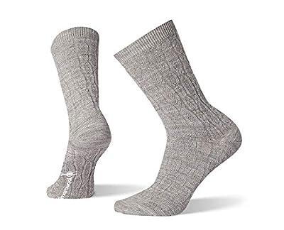 Smartwool Chain Link Cable Crew Socks - Women's Ultra Light Cushioned Merino Wool Performance Socks LIGHT GRAY Medium