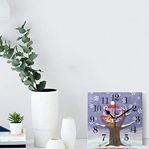Reloj de Pared de Copo de Nieve de Invierno con búho, Reloj Colgante Cuadrado Vintage para Sala de Estar, Cocina, Dormitorio, Oficina