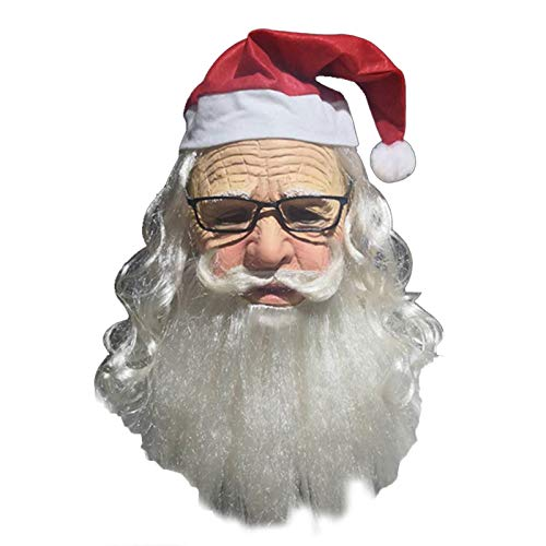 Maschera da Babbo Natale di Natale, Maschera da Babbo Natale in lattice premium,Maschera da Babbo Natale a faccia piena realistica morbida con barba/cappello/occhiali, Maschera da vestito da festa