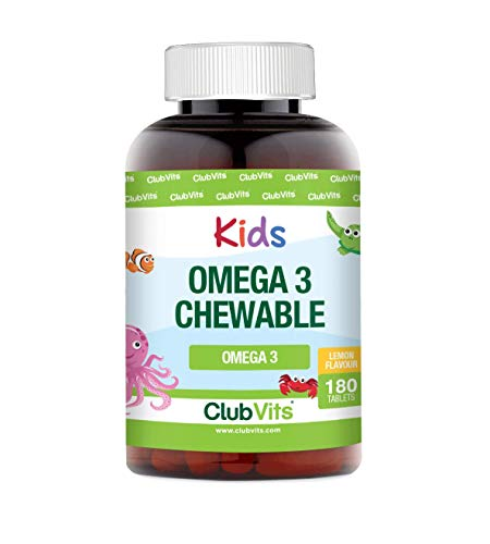 Club Vits Kids - Omega 3 Sherbet Lemon - 180 Chewable Tablets Tub with Child-Safe lid