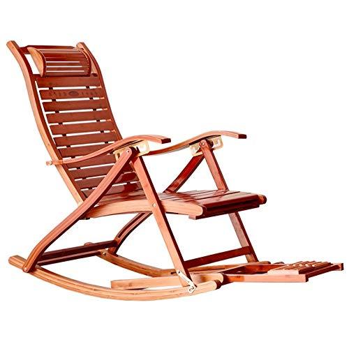 Qddan Silla Mecedora Plegable con Masaje De Pies Y Almohada Bambú Silla De Relax Ajustable con Reposapiés Retráctil (Color : Wood)