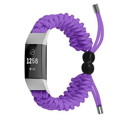 TopTen Correa de reloj compatible para Fitbit Charge 2, correa de nailon de repuesto, accesorios de pulsera ajustable (púrpura)