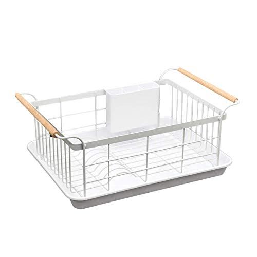 Escurreplatos con bandeja de goteo, blanco escurreplatos con asas de madera,estantes y soportes de almacenamiento de cocina