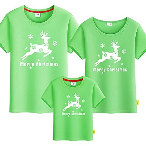 SANDA T-Shirt Pareja,Vestido para Padres y niños de Navidad, una Familia de Tres Puertos, Cuatro años, Camiseta de Manga Corta-Verde_Papá m