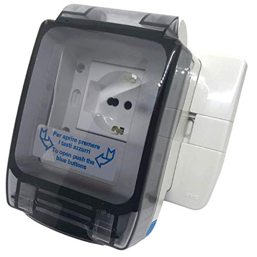 PATABIT Toma eléctrica de exterior impermeable de pared en caja de pared 503 IP56 | Caja exterior hermética con enchufe bipaso Schuko | toma de corriente
