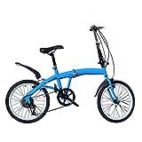 Bicicleta para adultos Bicicleta plegable 7 velocidades 20 pulgadas Doble V freno Heavy Duty Kick Stand (azul)