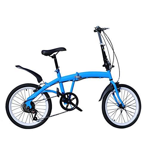 Klapprad, 20 Zoll 7 Gang Fahrrad Doppel V Bremse Klappfahrrad Faltrad Höhenverstellbar 70-100mm (Blau)