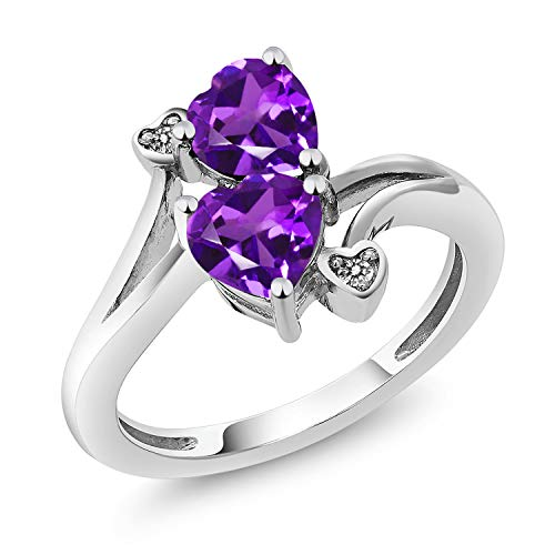 Gem Stone King 925 Sterling Silver Purple Amethyst and Diamond Accent Ring 1.33 Ctw Heart Shape Gemstone Birthstone (Size 8)