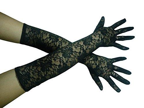 HO-Ersoka señoras guantes de encaje del traje de Baile de la Opera de largo negro