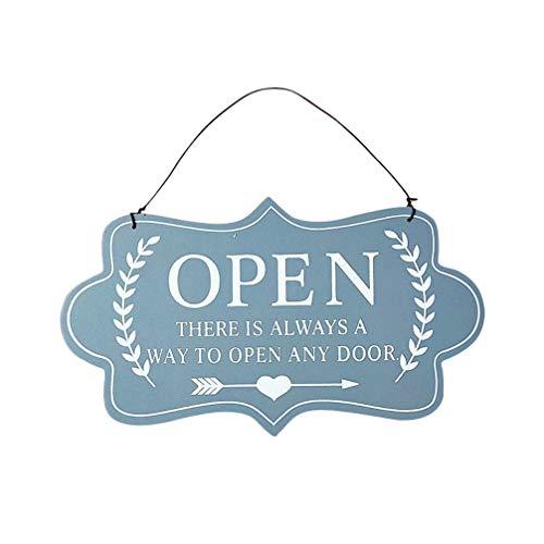 STOBOK Tablero de La Puerta Abierta Letrero de Madera Abierto Y Cerrado Placa de Puerta de Doble Cara Colgante Colgante para Tienda Cafetería (Gris)