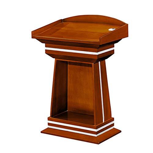JIAGU Escritorio de pie compacto para lectura de madera con cajón y gran área de almacenamiento, podio para conferencias, podio comercial resistente (color: marrón, tamaño: 77 x 50 x 115 cm)