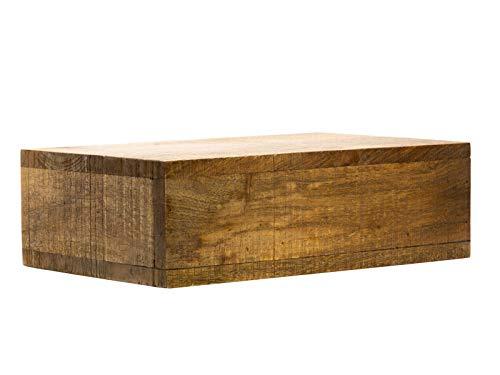 Woodkings® Wandboard mit Geheimfach Mango Holz braun rustikal Wandregal Nachttisch Schublade