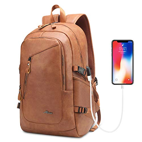 DYJ Leather Laptop Water Resistant Backpack for Women and Men, PU Vintage Leather Backpack Purse Casual Daypack College School Travel Daypacks with USB Charging Port Fits 15.6 Inch Laptop & Notebook