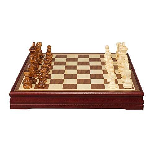 NZKW Juego de ajedrez de ajedrez Juego de ajedrez de Madera - Juegos de Tablero de ajedrez de Viaje portátiles con Ranuras de Almacenamiento de Piezas de Juego - Tablero de ajedrez de r