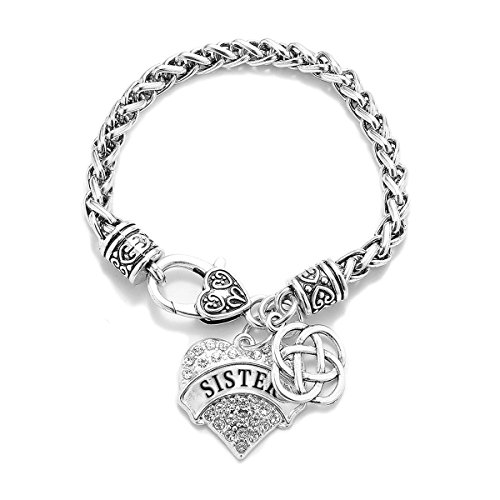 Inspired Silver - Sister Celtic Knot Braided Bracelet for Women - Silver Pave Heart Charm Bracelet with Cubic Zirconia Jewelry