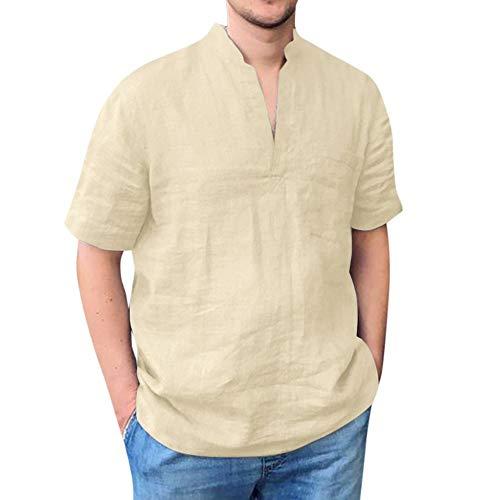 Camisa Hombre Manga Corta Transpirable y cómodo Camiseta de algodón y Lino de Color sólido para Hombre con Cuello en V con Bolsillo Camisas Casual para Hombres Slim fit