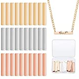 30 Piece Rectangle Metal Stamping Blank Bar Brass Stamping Tag Pendant Stamping Blank Bar Pendant Charm Horizontal Pendant Name Tag with Storage Box for DIY Bracelet Necklace (Gold, Silver, Rose Gold)