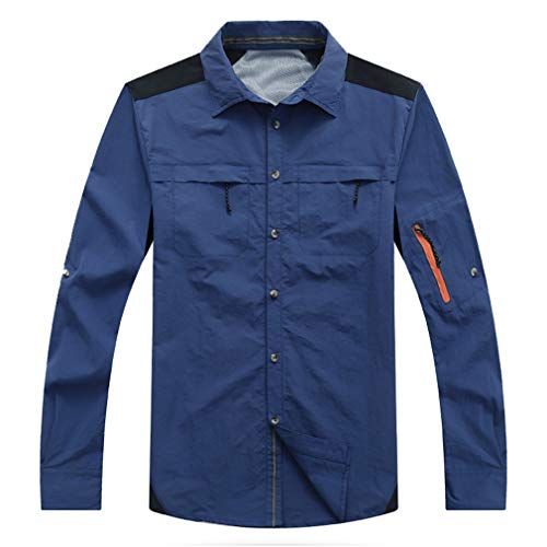 CIKRILAN Homme Quick Dry Turn Down Collar Roll Up Sleeve Shirt Button Down Wicking Breathable Fishing Shirts Tops(XXL,Dark Blue)