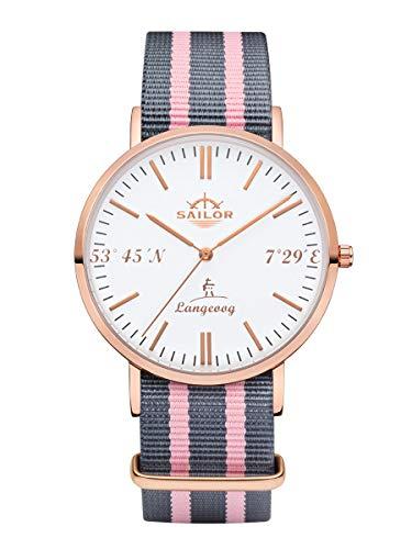Sailor Damen Herren Uhr Edition Langeoog Analog Quarz mit Nylon Armband Rosegold, SL101-2085-40