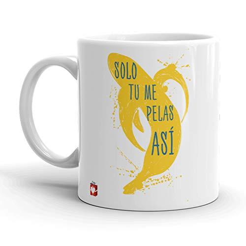 Kembilove Tazas de Desayuno Locas – Tazas de Café Muy Divertidas y Graciosas con Mensaje Solo tu, me pelas así – Tazas Originales de cerámica de 350 ml