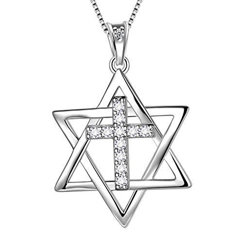 AuroraTears 925 Sterling Silber Davidstern Halskette Stern Anhänger Jüdische Schmuck Religiöse Judaica Geschenke für Frauen DP0167W