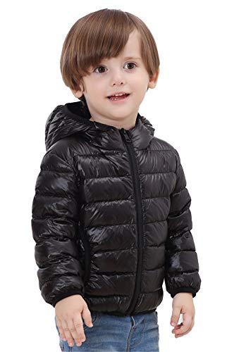 QCHENG Kinder Junge Mädchen Ultraleichte Daunenjacke mit Kapuze Leicht Verpackbar Herbst Winter Warme Jacket Steppjacke Daunenmantel Schwarz 120cm(Höhe:101-110cm)