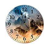 PotteLove 12' Silent Vintage Wooden Round Wall Clock Non Ticking Quartz Battery Operated, Howlin Wolf Wolf Art Moon Wolf Forest Wolf Rustic Chic Style Wooden Round Home Decor Wall Clock